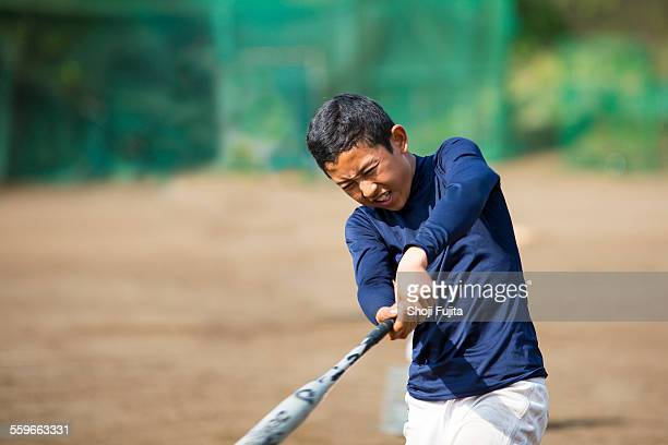 youth baseball players doing swing training - スポーツ用語 ストックフォトと画像