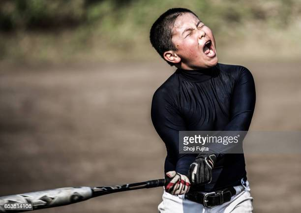 youth baseball players, hitting big - batting sports activity stock photos and pictures