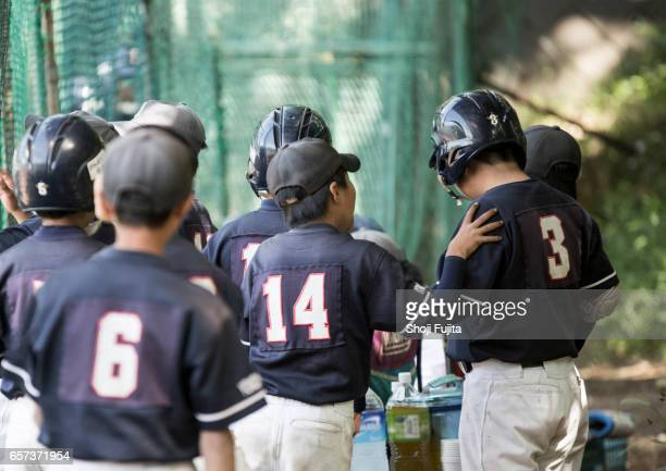 youth baseball players, teammates - number 14 stock photos and pictures
