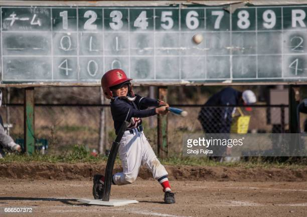 youth baseball players,playing game,batting - batting sports activity stock photos and pictures