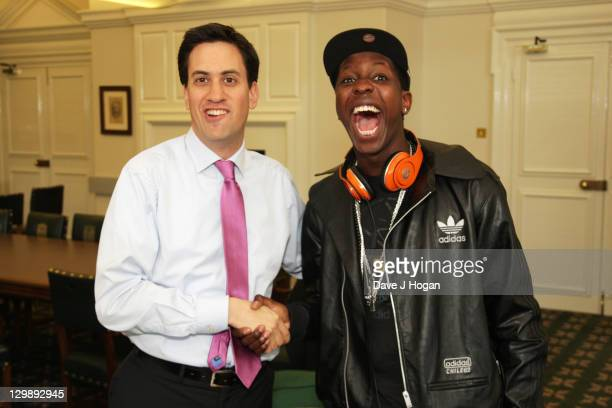 Youth broadcaster Jamal Edwards of SBTV interviews Labour party leader Ed Miliband in his office at Portcullis House on October 21 2011 in London...