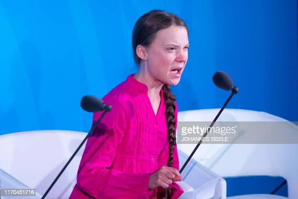 TOPSHOT Youth Climate activist Greta Thunberg speaks during the UN Climate Action Summit on September 23 2019 at the United Nations Headquarters in...