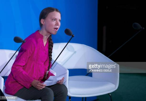Youth Climate activist Greta Thunberg speaks during the UN Climate Action Summit on September 23 2019 at the United Nations Headquarters in New York...