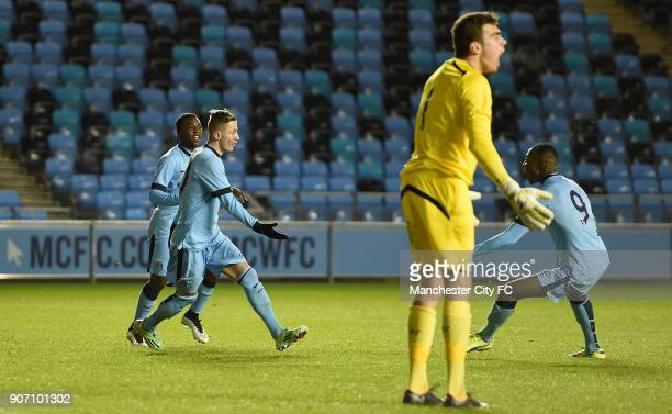 FA Youth Cup Fifth Round Manchester City v Stoke City City Academy Stadium Manchester City's Bersant Celina celebrates scoring his team's first goal...
