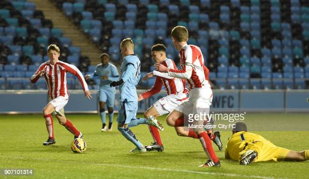 FA Youth Cup Fifth Round Manchester City v Stoke City City Academy Stadium Manchester City's Bersant Celina scores his team's first goal against...