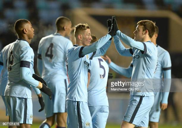 FA Youth Cup Fifth Round Manchester City v Stoke City City Academy Stadium Manchester City's Bersant Celina celebrates scoring his teams first goal...