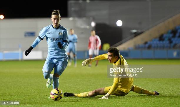 FA Youth Cup Fifth Round Manchester City v Stoke City City Academy Stadium Manchester City's Bersant Celina takes the ball round Stoke City...
