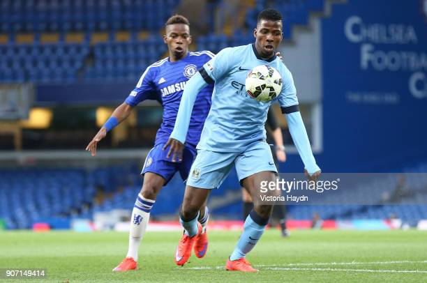 FA Youth Cup Final Second Leg Chelsea v Manchester City Stamford Bridge Manchester City's Kelechi Iheanacho and Chelsea's Charly Musonda battle for...