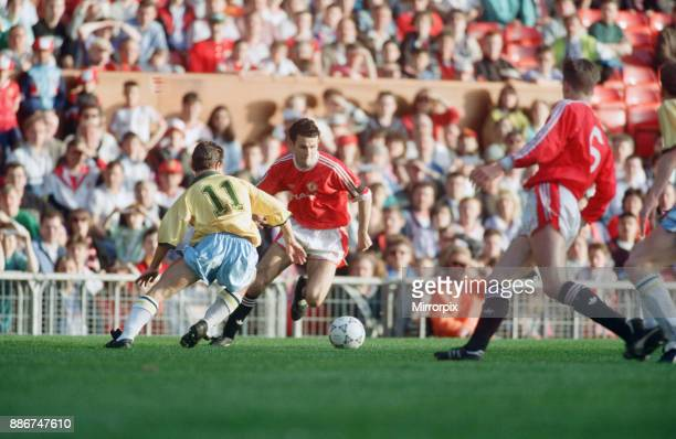 Youth Cup Final Second Leg match at Old Trafford. Manchester United 3 v Crystal Palace 2 . Ryan Giggs in action during the match, 15th May 1992.