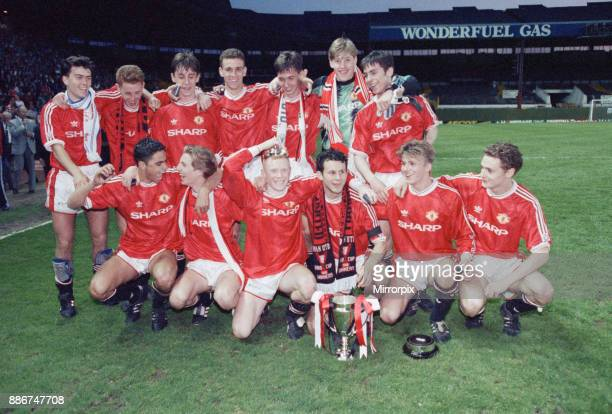 FA Youth Cup Final Second Leg match at Old Trafford Manchester United 3 v Crystal Palace 2 The United team celebrate with the trophy after the match...