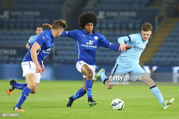 FA Youth Cup Semi Final Second Leg Leicester City v Manchester City King Power Stadium Manchester City's Brandon Barker in action with Leicester...