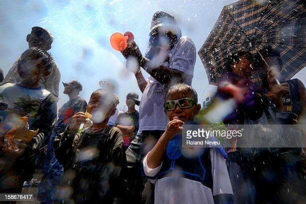 Youth during the New Year celebration festival in Yangoon in April