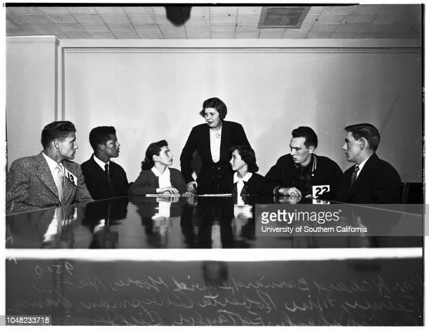 Youth Forum speakers and leaders 07 March 1952 Speakers Jack WarnerDee KlassenGary TitusPaulette AttieRaymond OrbachReginald Pierson Leaders Richard...