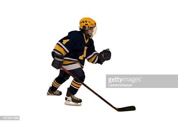 youth hockey action - hockey stick stock pictures, royalty-free photos & images