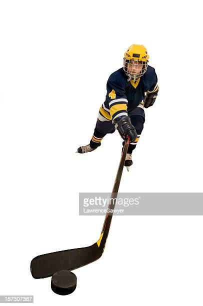 youth hockey action - ice hockey uniform stock pictures, royalty-free photos & images