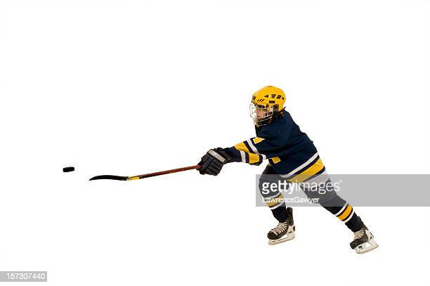 youth hockey action - hockey skates stock photos and pictures