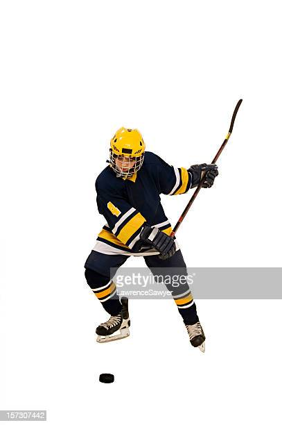 youth hockey action - ice hockey stick stock pictures, royalty-free photos & images