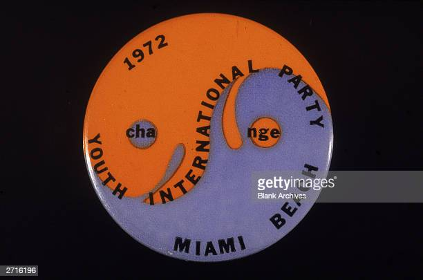 Youth International Party pinback button with an orange and blue yinyang symbol from a Miami Florida antiVietnam War rally