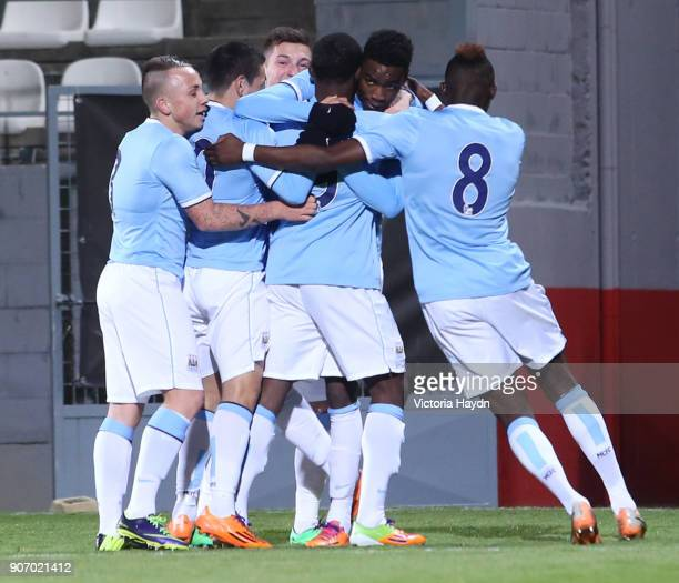 Youth League Atletico Madrid v Manchester City Cerro del Espino Stadium Manchester City's Devante Cole celebrates scoring the winning goal with...