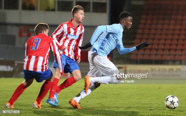 Youth League Atletico Madrid v Manchester City Cerro del Espino Stadium Manchester City's Devante Cole in action against Atletico Madrid