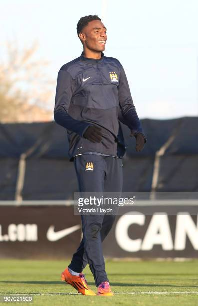 Youth League Atletico Madrid v Manchester CIty Manchester City Training Madrid Manchester City's Devante Cole during training