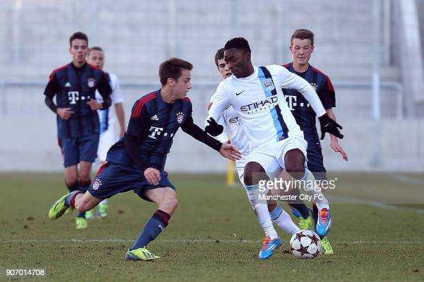 Youth League Bayern Munich U19 v Manchester City U19 Stadtisches Stadion Manchester City's Devante Cole in action