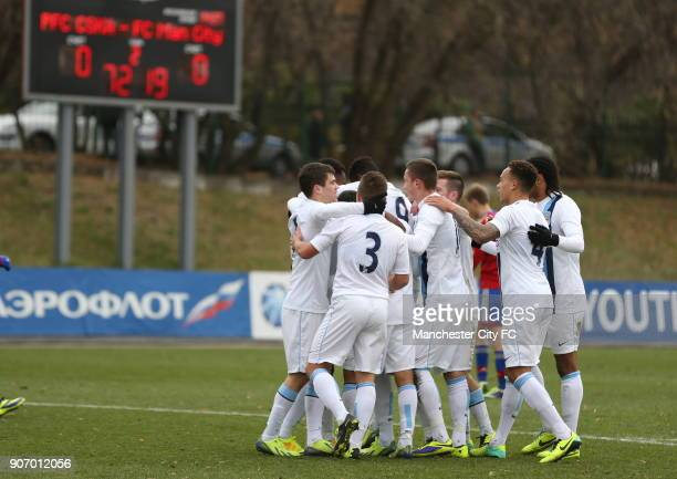 Youth League Group D CSKA Moscow v Manchester City Oktyabr Stadium Manchester City's Devante Cole celebrates after scoring his team's goal