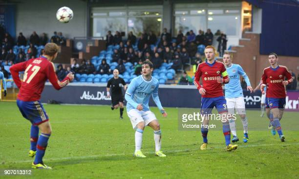Youth League Group D Manchester City v CSKA Moscow Ewen Fields Manchester City's Jose Angel Pozo in action