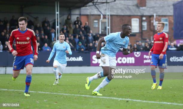 Youth League Group D Manchester City v CSKA Moscow Ewen Fields Manchester City's Seko Fofana celebrates after scoring the opening goal of the game...
