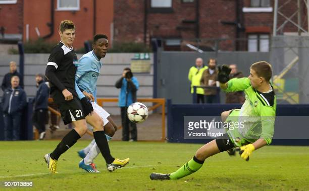 Youth League Manchester City U19s v Plzen U19s Hyde FC Manchester City's Devante Cole's attempt at goal during the UEFA Youth League game against...