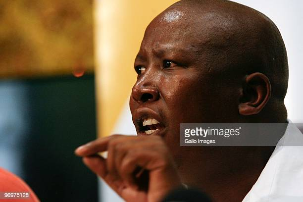 Youth League president Julius Malema responds to media reports regarding his business interests and lavish lifestyle during a news conference at...