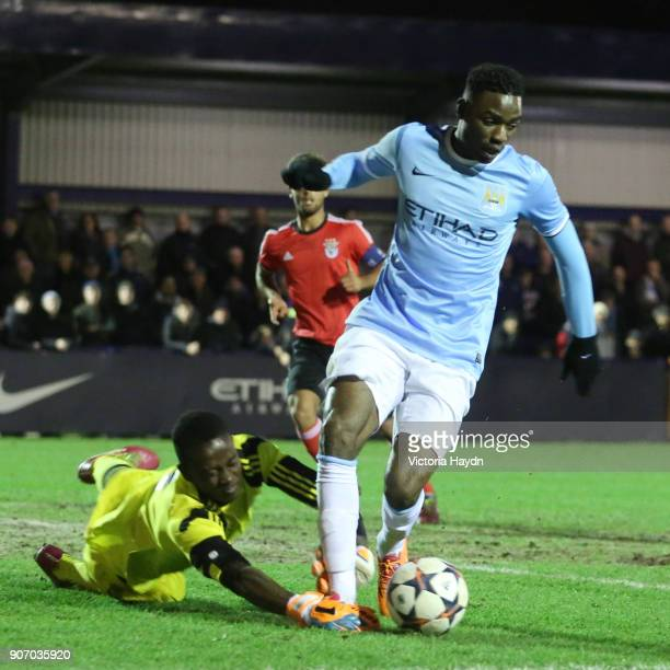 Youth League Quarter Final Manchester City v Benfica Ewen Fields Manchester City's Devante Cole on the ball