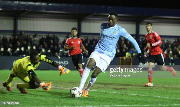 Youth League Quarter Final Manchester City v Benfica Ewen Fields Manchester City's Devante Cole in action