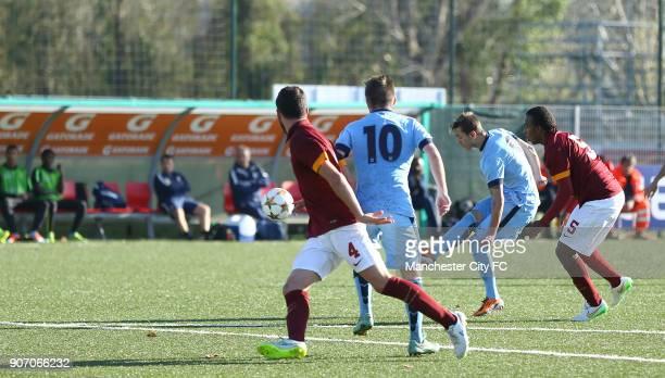 Youth League Roma U19 v Manchester City U19 Stadio Manlio Scopigno Manchester City's Bersant Celina scores