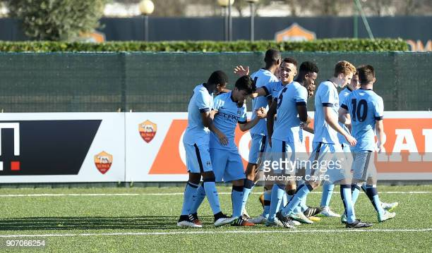 Youth League Roma U19 v Manchester City U19 Stadio Manlio Scopigno Manchester City players celebrate after Brandon Barker scores