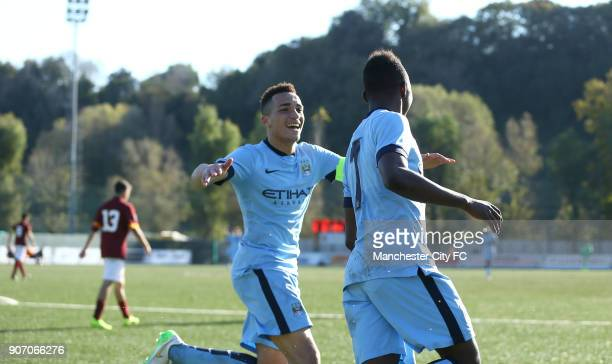 Youth League Roma U19 v Manchester City U19 Stadio Manlio Scopigno Manchester City's Thierry Ambrose celebrates his goal with teammate Kean Bryan