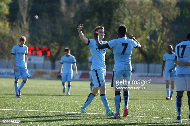 Youth League Roma U19 v Manchester City U19 Stadio Manlio Scopigno Manchester City's Brandon Barker celebrates his goal with teammate Thierry Ambrose