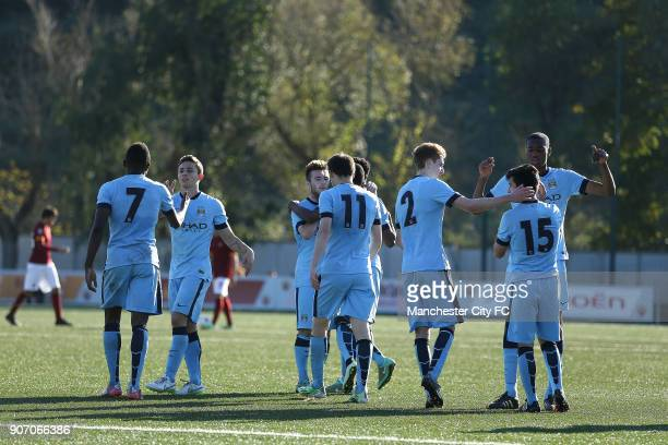 Youth League Roma U19 v Manchester City U19 Stadio Manlio Scopigno Manchester City players celebrate Brandon Barker's gaol