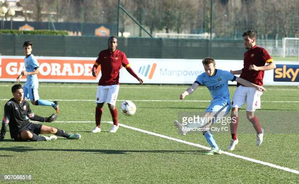 Youth League Roma U19 v Manchester City U19 Stadio Manlio Scopigno Manchester City's Brandon Barker scores