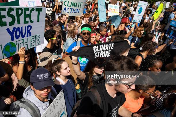 Youth march along Pennsylvania Avenue to the US Capitol Building as part of the Global Climate Strike protests on September 20 2019 in Washington DC...