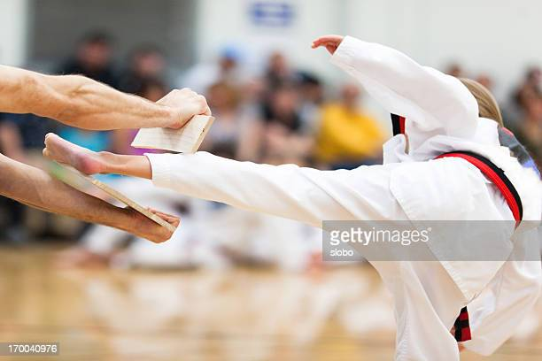 youth martial arts belt testing - taekwondo kids stock photos and pictures