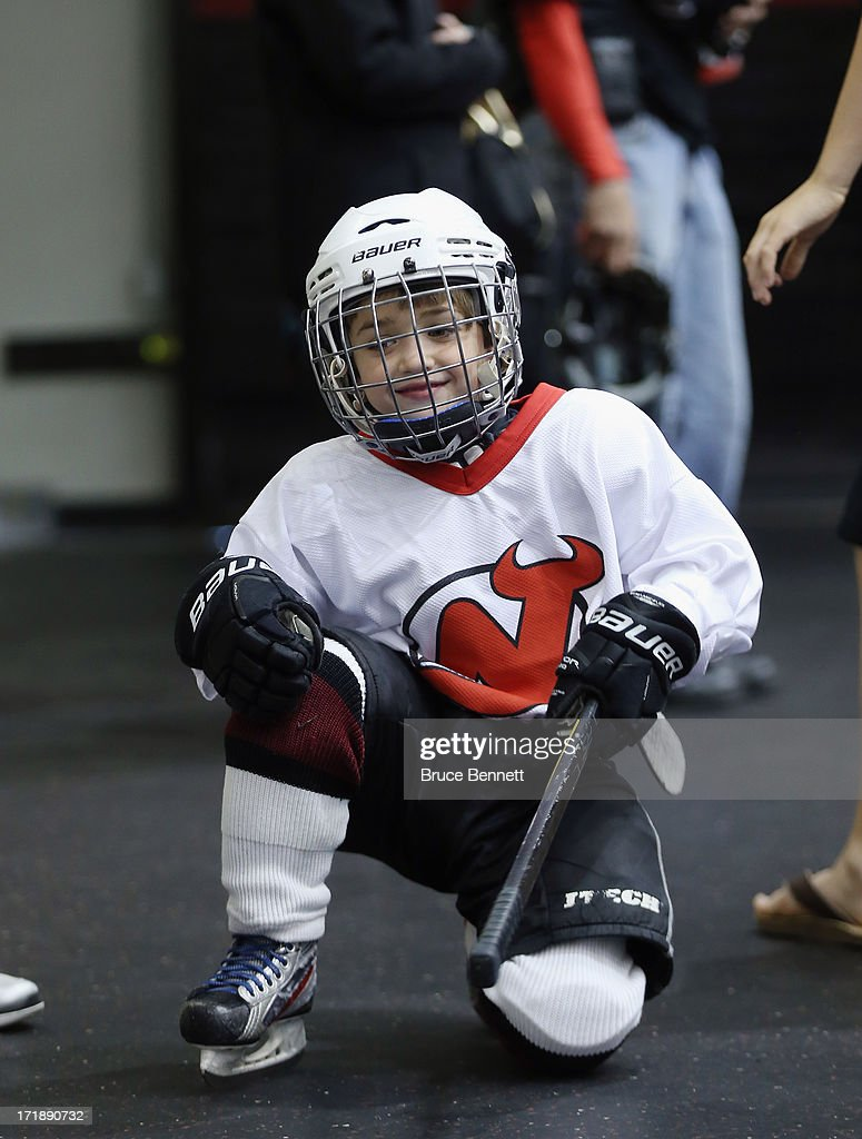 A youth player prepares to take the ice with the NHL top draft prospects at the AmeriHealth Pavilion inside the Prudential Center on June 29, 2013 in Newark, New Jersey.