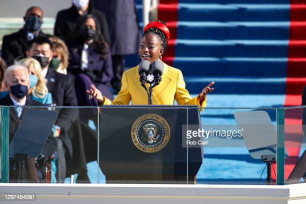 Youth Poet Laureate Amanda Gorman speaks at the inauguration of U.S. President Joe Biden on the West Front of the U.S. Capitol on January 20, 2021 in...