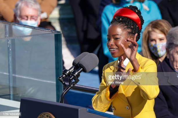Youth Poet Laureate Amanda Gorman speaks during the inauguration of U.S. President Joe Biden on the West Front of the U.S. Capitol on January 20,...
