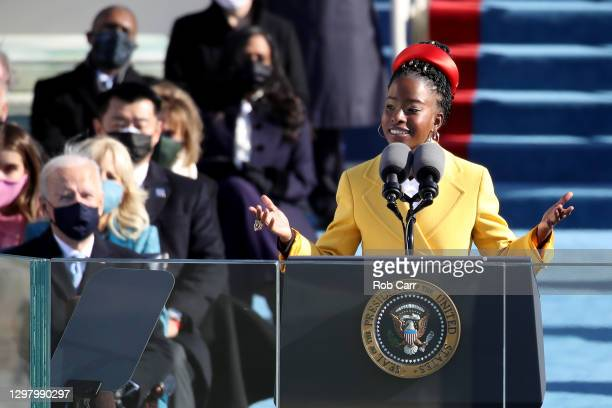 Youth Poet Laureate Amanda Gorman speaks during the inauguration of U.S. President-elect Joe Biden on the West Front of the U.S. Capitol on January...