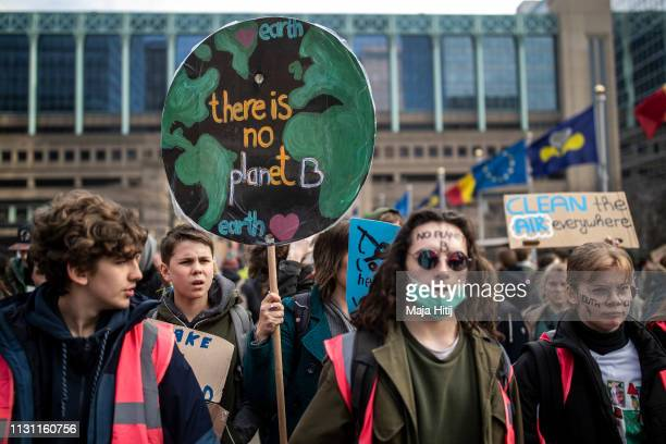 Youth protest during 7th Brussels youth climate march on February 21 2019 in Brussels Belgium