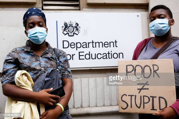 Youth protests in front of the Department for Education as a new exam rating system has been introduced in British education system, in London,...
