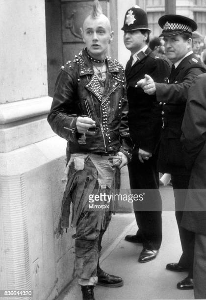 Youth Punks September 1984 Policemen tells punks where to go outside the Bank of England