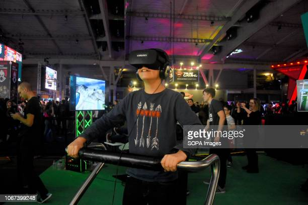 L´HOSPITALET BARCELONA SPAIN A youth seen playing with a virtual reality glasses during the Barcelona Games World Fair