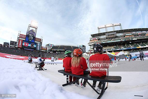Youth skaters skate on a small ice rink before the game between the Colorado Avalanche and the Detroit Red Wings at the 2016 Coors Light NHL Stadium...